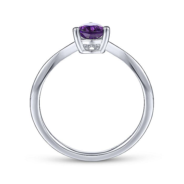 14K White Gold Teardrop Amethyst and Diamond Triangle Ring
