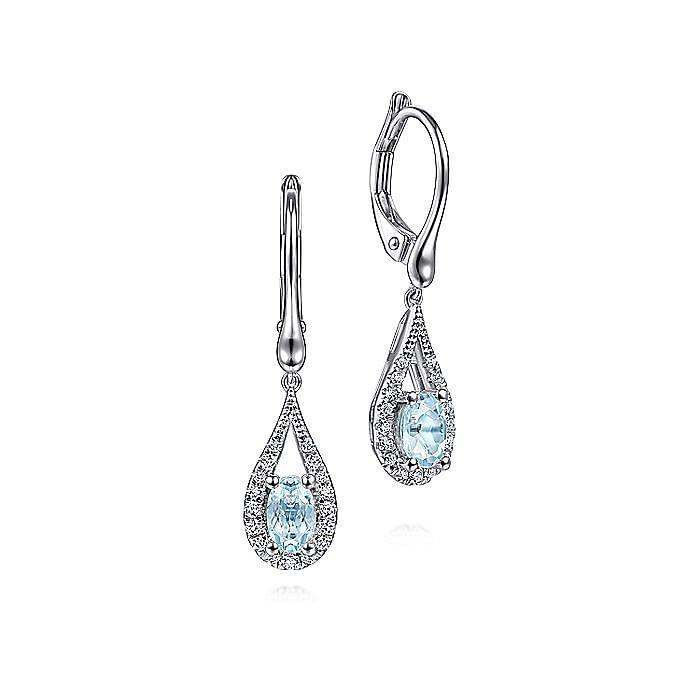 14K White Gold Teardrop Aquamarine and Diamond Drop Earrings