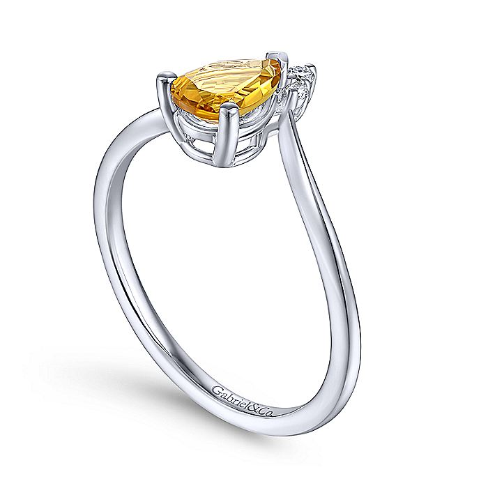 14K White Gold Teardrop Citrine and Diamond Triangle Ring