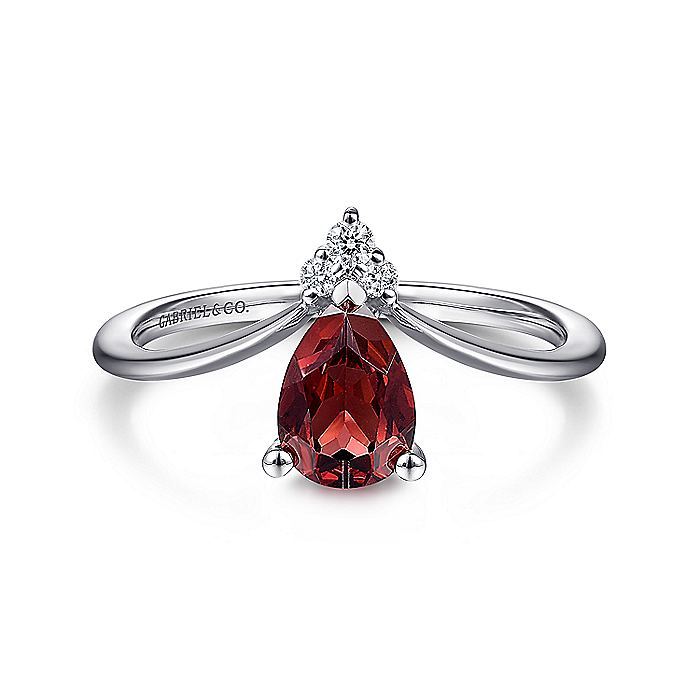 14K White Gold Teardrop Garnet and Diamond Triangle Ring