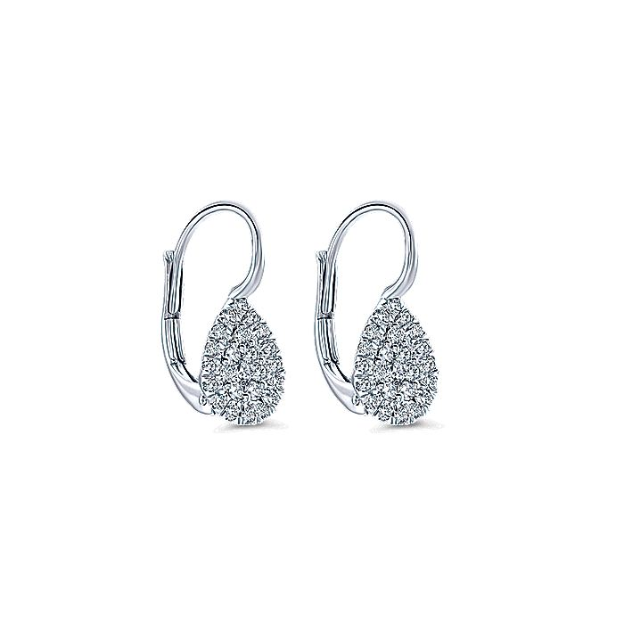 14K White Gold Teardrop Leverback Cluster Diamond Earrings