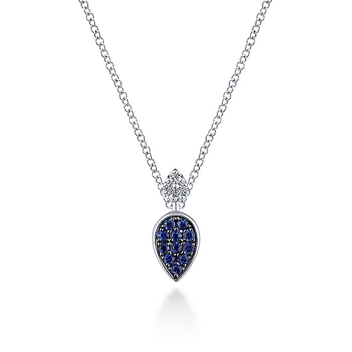 14K White Gold Teardrop Pendant Necklace with Sapphires and Diamonds