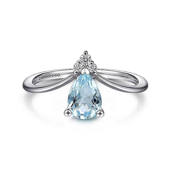 14K White Gold Teardrop Sky Blue Topaz and Diamond Chevron Ring