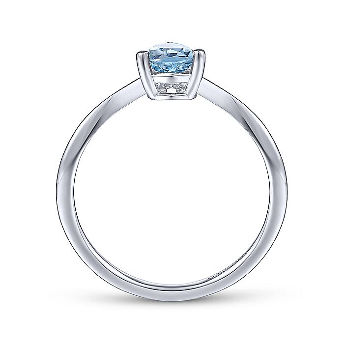 14K White Gold Teardrop Sky Blue Topaz and Diamond Triangle Ring