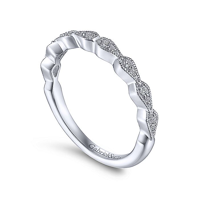 14K White Gold Teardrop Station Stackable Diamond Anniversary Band
