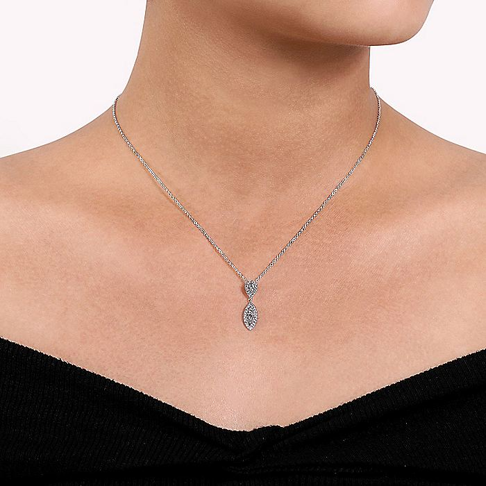 14K White Gold Teardrop and Marquise Diamond Pavé Pendant Necklace