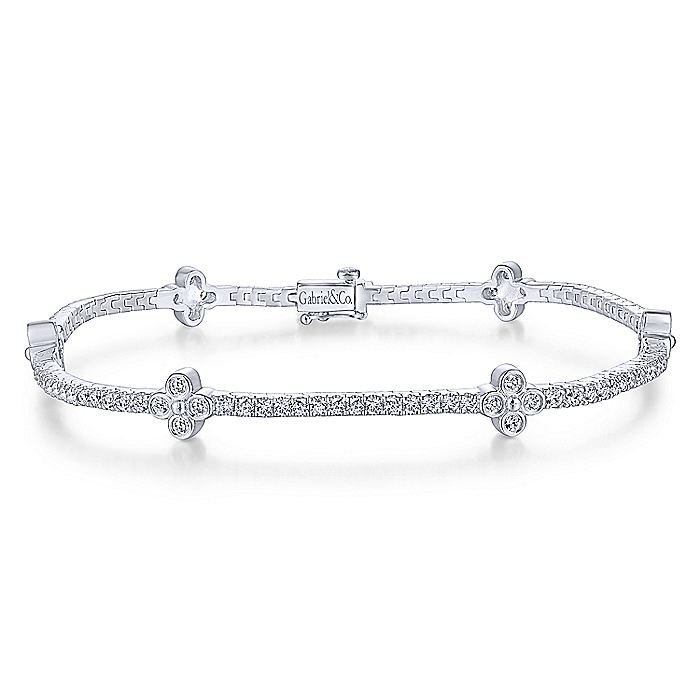 14K White Gold Tennis Bracelet with Quatrefoil Diamond Stations