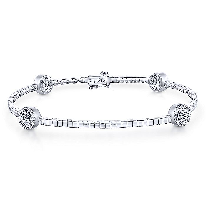 14K White Gold Tennis Bracelet with Round Cluster Diamond Stations