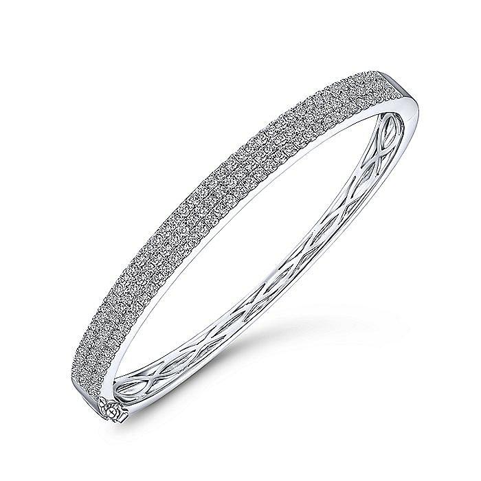 14K White Gold Three Row Diamond Bangle