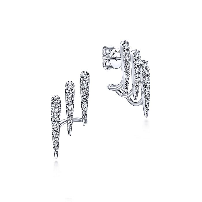 14K White Gold Three Row Diamond Bar Stud Earrings