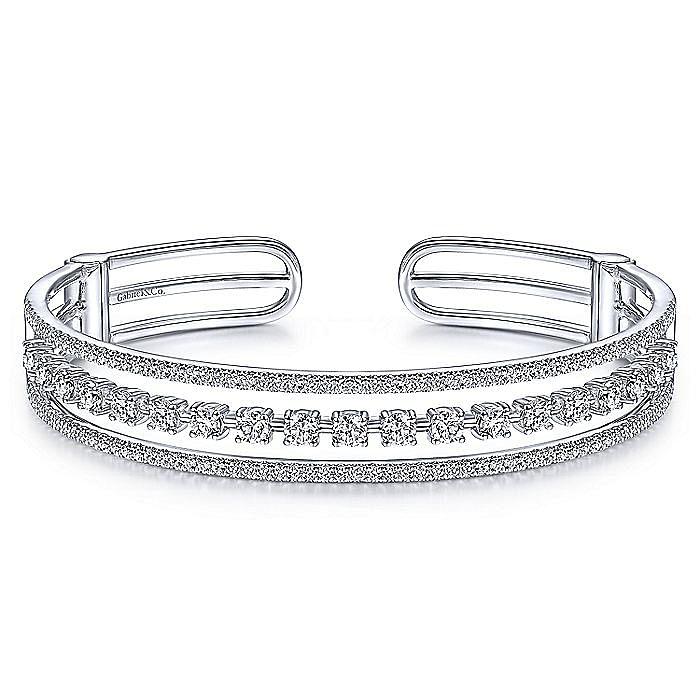 14K White Gold Three Row Diamond Cuff Bracelet