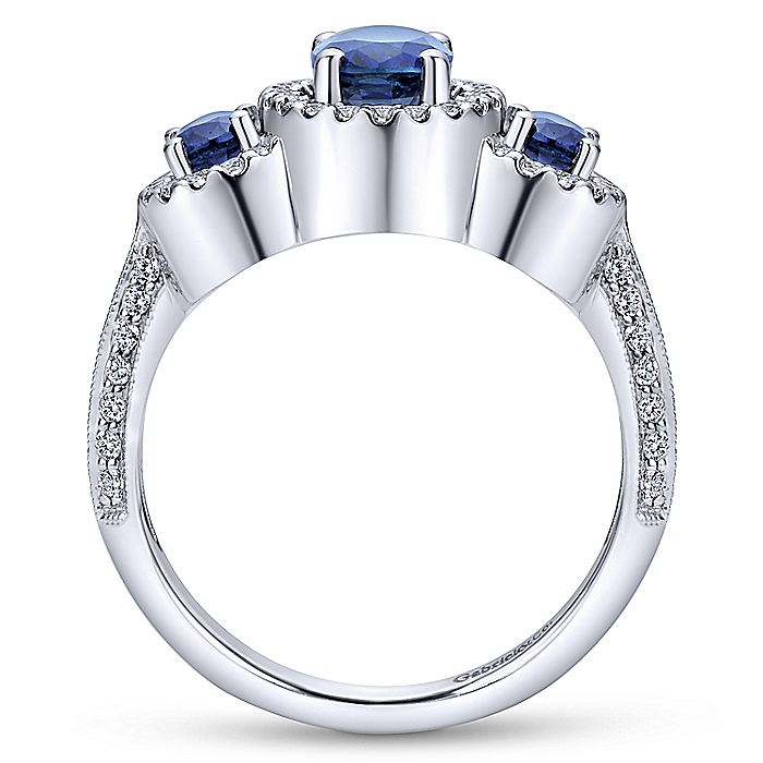 14K White Gold Three Row Halo Sapphire and Diamond Ring