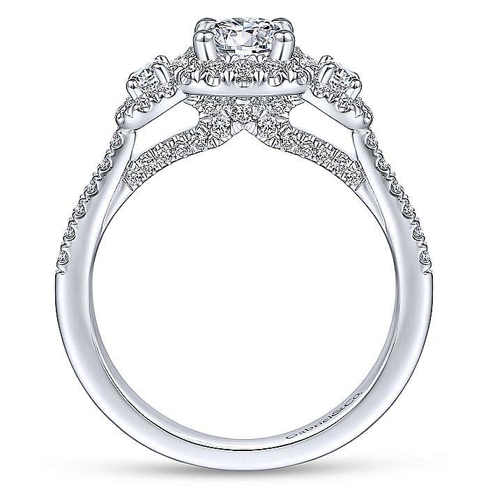 14K White Gold Three Stone Halo Diamond Engagement Ring