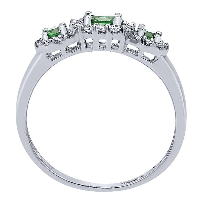 14K White Gold Three Stone Halo Emerald and Diamond Ring