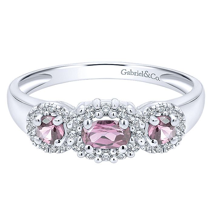 14K White Gold Three Stone Halo Pink Sapphire and Diamond Ring