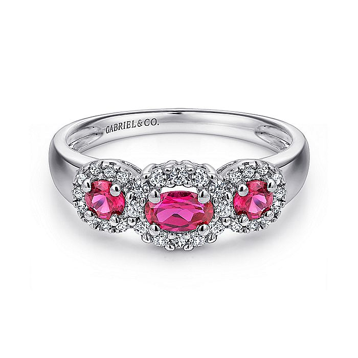 14K White Gold Three Stone Halo Ruby and Diamond Ring