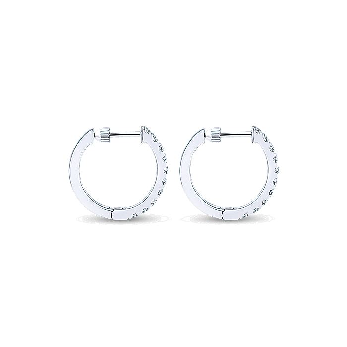 14K White Gold Tiger Claw Set 15mm Round Classic Diamond Hoop Earrings