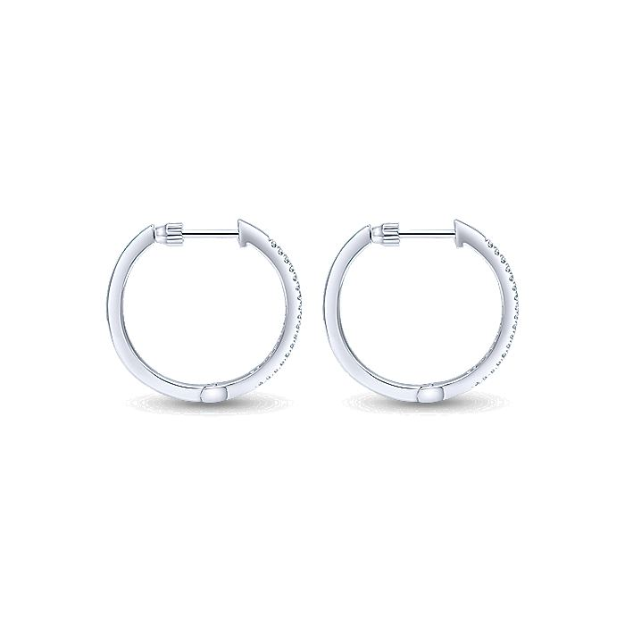 14K White Gold Tiger Claw Set 20mm Round Classic Diamond Hoop Earrings