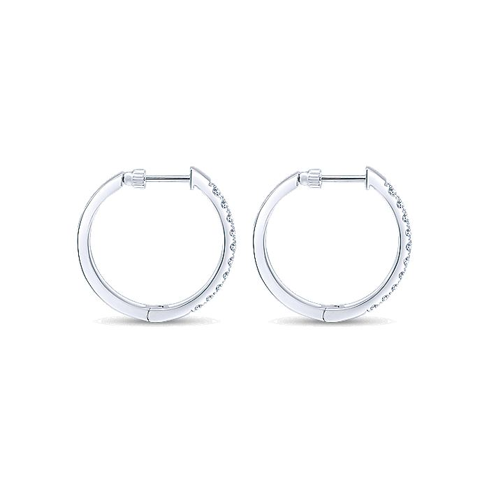14K White Gold Tiger Claw Set 25mm Round Classic Diamond Hoop Earrings