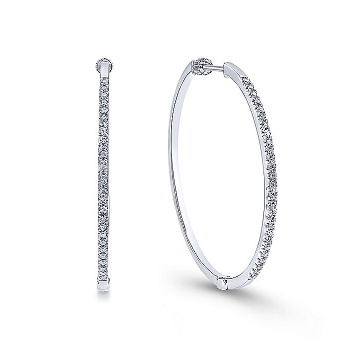 14K White Gold Tiger Claw Set 40mm Round Classic Diamond Hoop Earrings