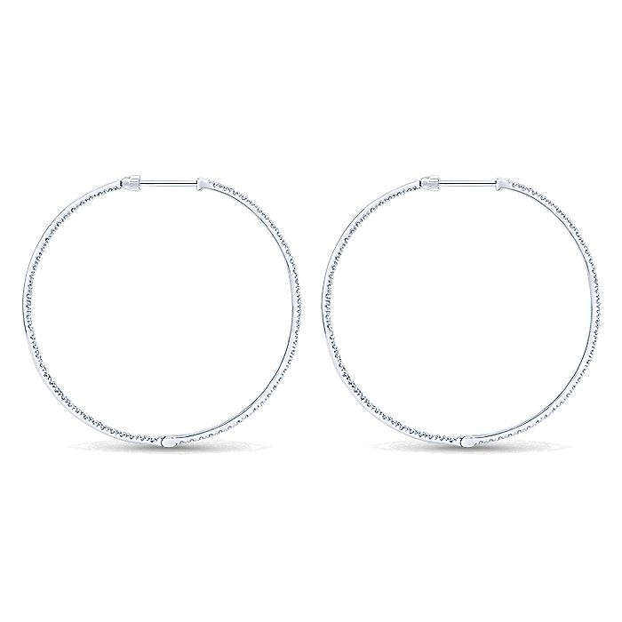 14K White Gold Tiger Claw Set 50mm Round Inside Out Diamond Hoop Earrings