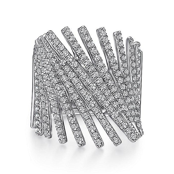 14K White Gold Tilted Diamond Bars Statement Ring