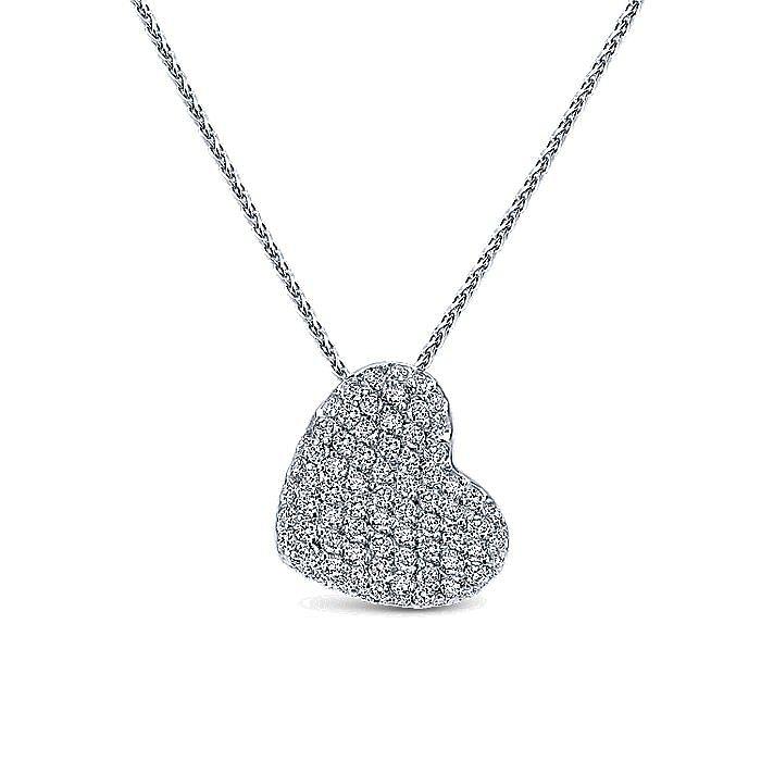 14K White Gold Tilted Pavé Diamond Heart Pendant Necklace