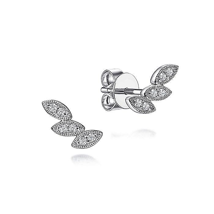14K White Gold Triple Marquise Shape Diamond Station Stud Earrings