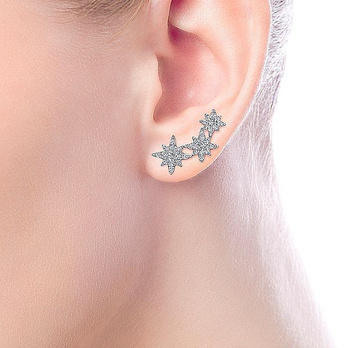 14K White Gold Triple Star Curved Stud Earrings