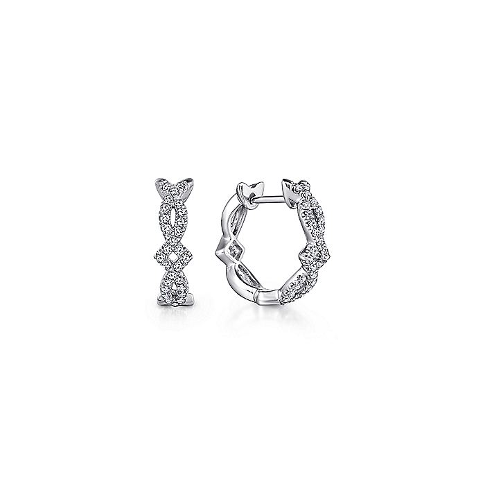 14K White Gold Twisted 10mm Diamond Huggie Earrings