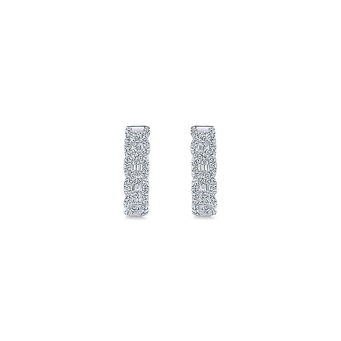 14K White Gold Twisted 15mm Diamond Huggie Earrings