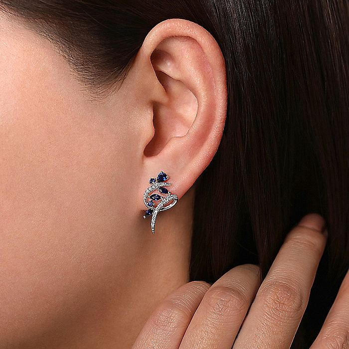 14K White Gold Twisted Abstract Sapphire and Diamond Stud Earrings