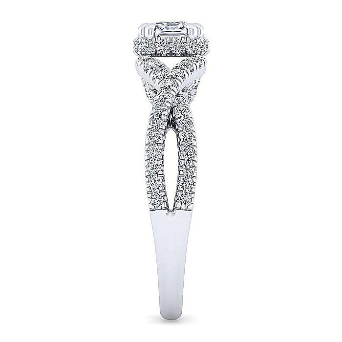 14K White Gold Twisted Cushion Cut Diamond Engagement Ring