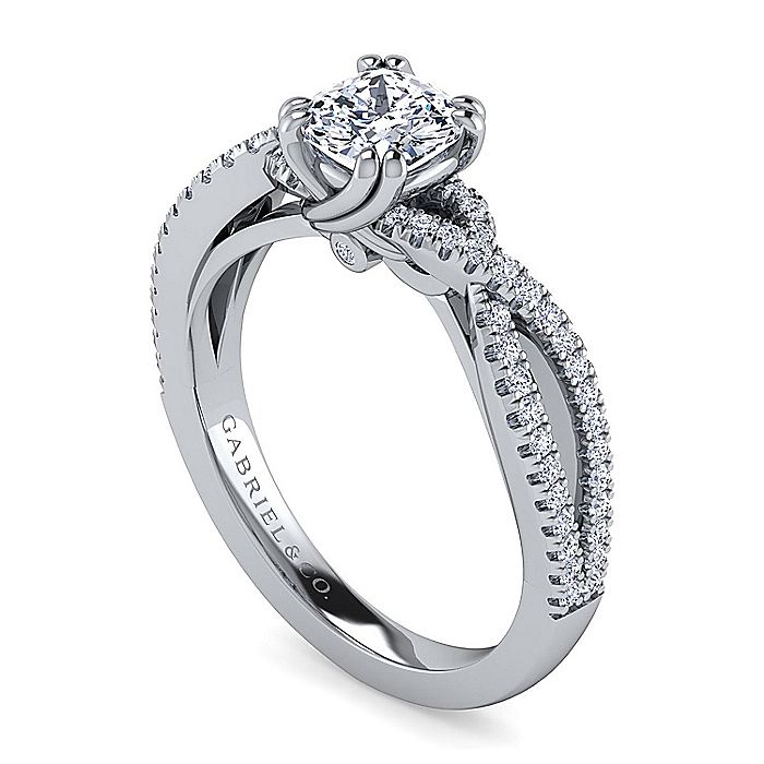 14K White Gold Twisted Cushion Cut Diamond Engagement Ring