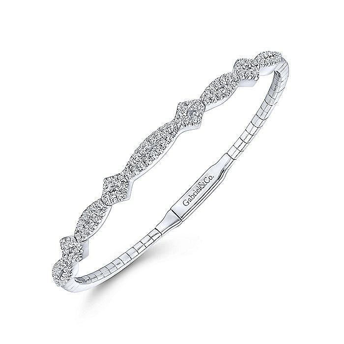 14K White Gold Twisted Diamond Bangle