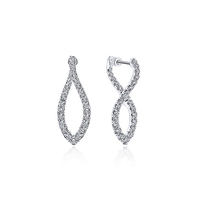 14K White Gold Twisted Diamond Huggie Earrings