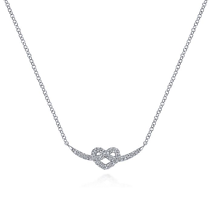 14K White Gold Twisted Diamond Pretzel Heart Necklace