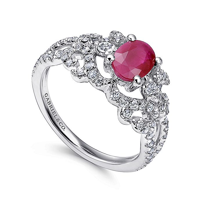 14K White Gold Twisted Diamond Ring with Oval Ruby Center