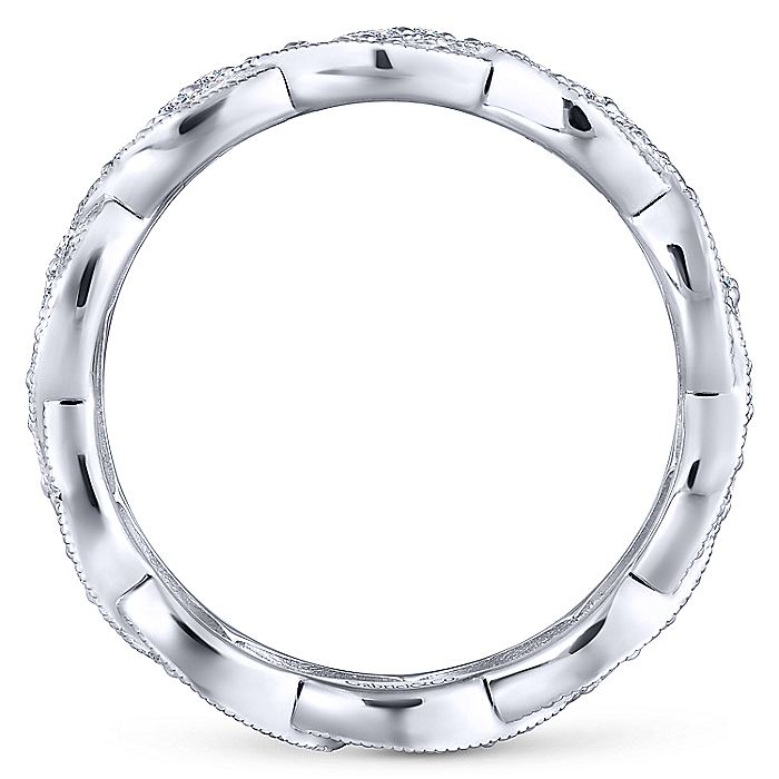 14K White Gold Twisted Diamond Rows Eternity Ring