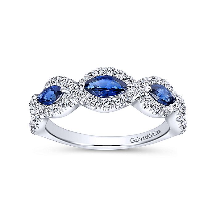 14K White Gold Twisted Diamond Rows and Sapphire Marquise Stones Ring