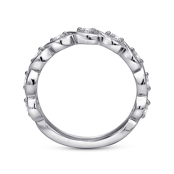 14K White Gold Twisted Diamond Stackable Band