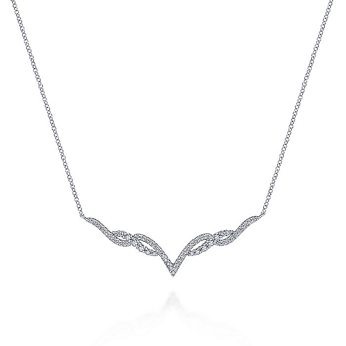 14K White Gold Twisted Diamond V Bar Necklace