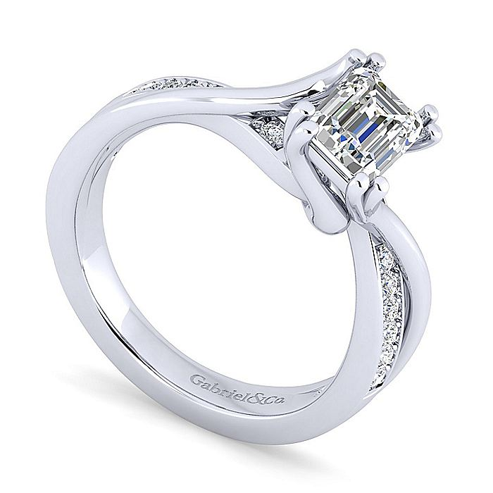 14K White Gold Twisted Emerald Cut Diamond Engagement Ring