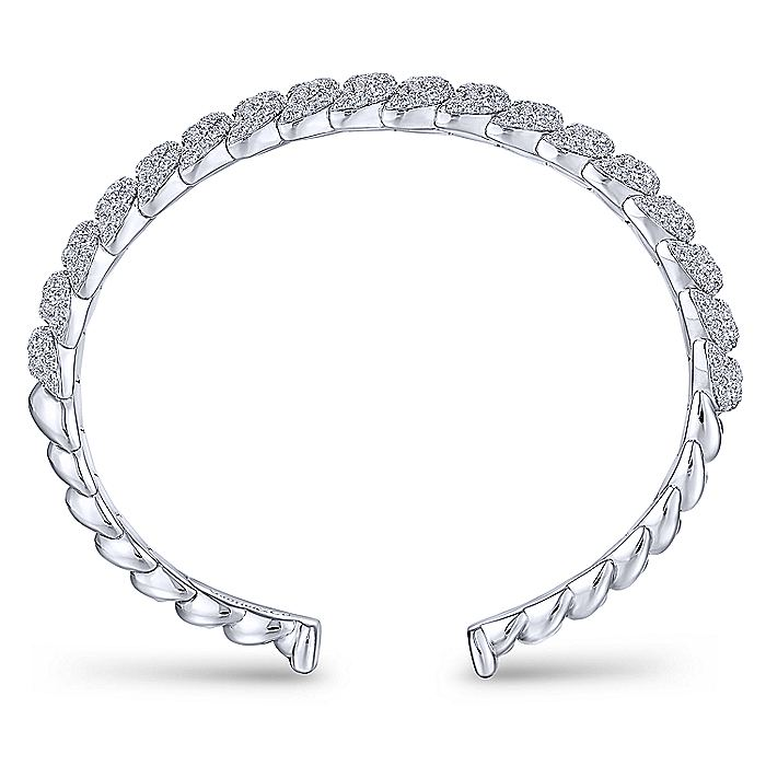 14K White Gold Twisted Link Diamond Pavé Cuff Bracelet