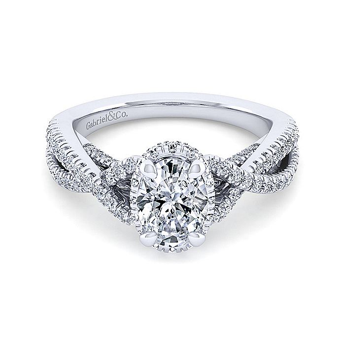 14K White Gold Twisted Oval Diamond Engagement Ring