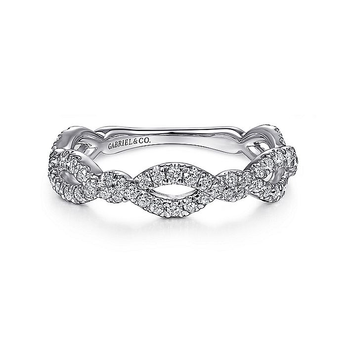 14K White Gold Twisted Pavé Diamond Stackable Ring