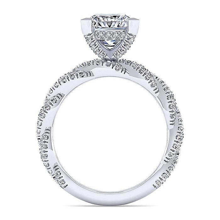 14K White Gold Twisted Princess Cut Diamond Engagement Ring