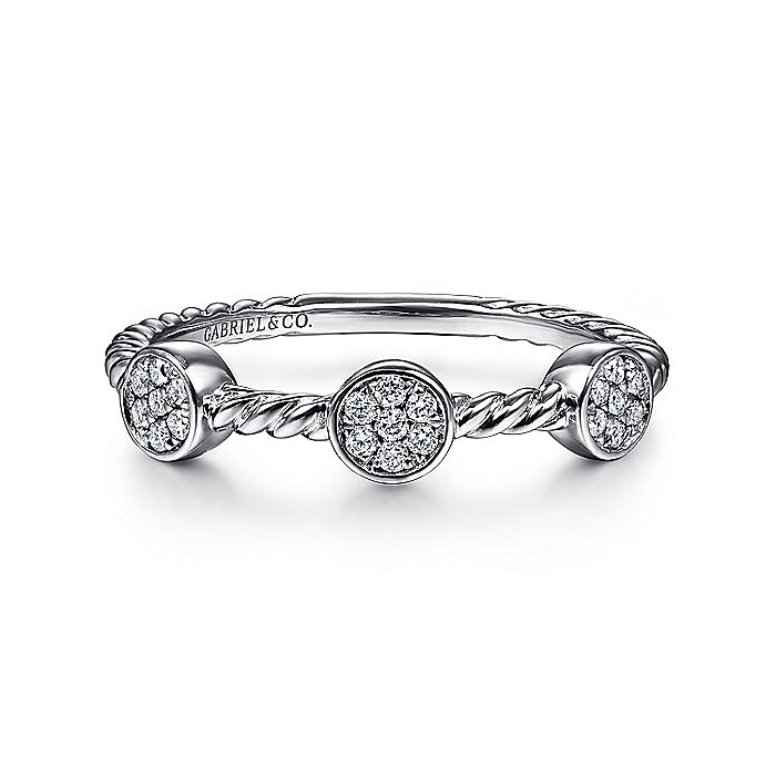 14K White Gold Twisted Rope Cluster Diamond Station Stackable Ring