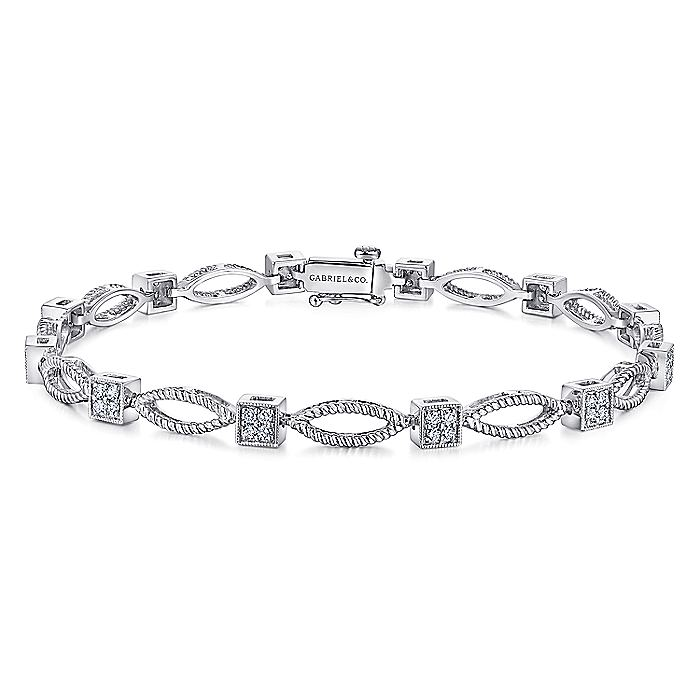 14K White Gold Twisted Rope Link Tennis Bracelet with Pavé Diamond Cube Spacers