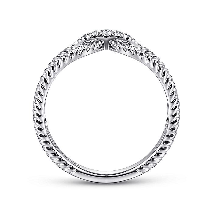 14K White Gold Twisted Rope Pavé Diamond Connector Ring